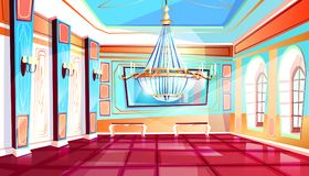 Ballroom with chandelier vector illustration. Ballroom with big chandelier vector illustration of palace hall with columns and tile floor. Flat cartoon royal royalty free illustration