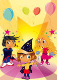 Ballroom with children. Vectors illustration shows a ballroom with children dressed royalty free illustration