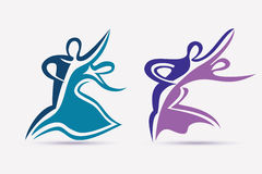 Ballroom couple dance symbols collection Stock Photography