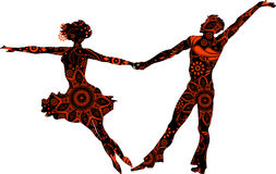 Ballroom couple. Silhouettes on a transparent background royalty free illustration