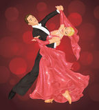 Ballroom dance. Couple is ballroom dancing on the red background vector illustration