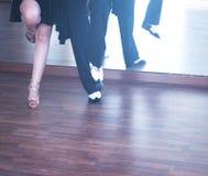 Ballroom dance dancers. Ballroom dance couple of dancers and teachers in studio school dancing in rehearsal Royalty Free Stock Photography