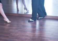 Ballroom dance dancers. Ballroom dance couple of dancers and teachers in studio school dancing in rehearsal Stock Photography