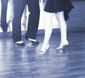 Ballroom dance dancers. Ballroom dance couple of dancers and teachers in studio school dancing in rehearsal Royalty Free Stock Images