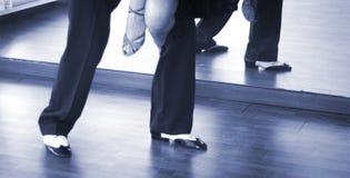 Ballroom dance dancers. Ballroom dance couple of dancers and teachers in studio school dancing in rehearsal Stock Image