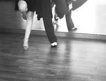 Ballroom dance dancers. Ballroom dance couple of dancers and teachers in studio school dancing in rehearsal Stock Images