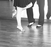 Ballroom dance dancers. Ballroom dance couple of dancers and teachers in studio school dancing in rehearsal Stock Photo