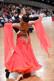 Ballroom dance couple, dancing at the competition Stock Image