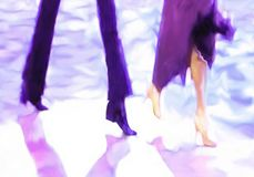Male and female legs cast shadows in spotlight. Ballroom dance floor abstract 20, digital painting in purple, white, dark blue, bright turquoise, male and female stock illustration