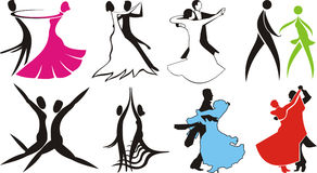 Ballroom dance - logos & silhouettes Royalty Free Stock Photos