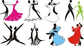 Ballroom dance - logos & silhouettes. Partner dance, international standard, international latin, across the floor Royalty Free Stock Photos