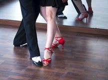 Ballroom dance salsa dancers. Ballroom dance salsa dancer instructors man and woman couple dancing in shcool rehearsal room Royalty Free Stock Image