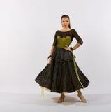 Ballroom Dancer Black and Yellow Dress Royalty Free Stock Image