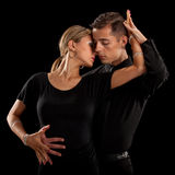 Ballroom Dancer Pair on Black Background Stock Photos