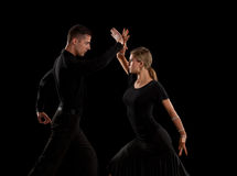 Ballroom Dancer Pair on Black Background Royalty Free Stock Images