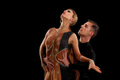Ballroom Dancer Pair on Black Background Stock Images