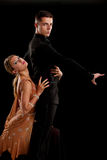 Ballroom Dancer Pair on Black Background Royalty Free Stock Photos