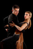 Ballroom Dancer Pair on Black Background Stock Photography