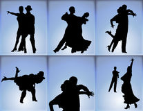 Ballroom Dancers. Silhouettes of six couples ballroom dancing on blue background royalty free illustration