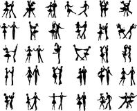 Ballroom dancers. Collection of vector ballroom pair dancers silhouetes Royalty Free Stock Photos