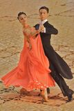 Ballroom Dancers Orange Gown Royalty Free Stock Photo