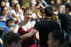 Ballroom dancers outside Royalty Free Stock Photo