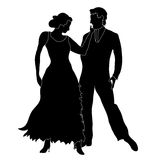 Ballroom dancers silhouette. A background with a silhouette of two ballroom dancers, isolated on a white background Stock Image