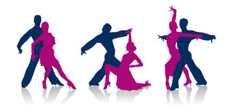 Ballroom dancers silhouettes. Detailed vector ballroom dancers silhouettes Stock Images