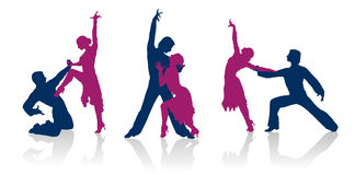 Ballroom dancers silhouettes. Ballroom dancers detailed vector silhouettes Royalty Free Stock Photo