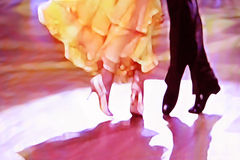 Ballroom dancers yellow dress. Ballroom dancers abstract 5465, digital painting in yellow, black, white, purple Royalty Free Stock Images