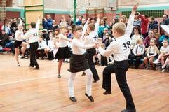 Ballroom dancing kids. MINSK - MARCH 19: Children perform latina dance during Fiesta ballroom competitions, March 19, 2016, Minsk, Belarus Stock Photo