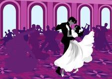 Ballroom dancing. Silhouettes of dancing. Valse Royalty Free Stock Photo
