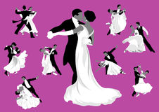 Ballroom dancing. Silhouettes of dancing. Valse Stock Photo