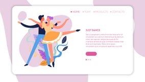 Ballroom dansen van het de webpaginamalplaatje van dansklassen het online vector illustratie