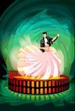 Ballroom dansenpaar op Magische Arena stock illustratie