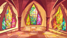 Ballroom or gothic palace hall vector illustration. Ballroom vector illustration of royal gothic palace hall with stained glass windows and sun reflection on Royalty Free Stock Photography