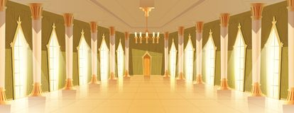 Ballroom hall with chandelier vector illustration. Ballroom or royal hall vector illustration of entrance door view. Cartoon palace room or chamber with candle royalty free illustration