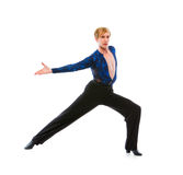 Ballroom male dancer posing on white background Royalty Free Stock Photography