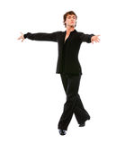 Ballroom male dancer posing on white background Stock Photos