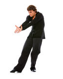 Ballroom male dancer posing on white background Stock Photo