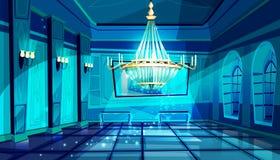 Ballroom night hall vector illustration. Ballroom in night vector illustration of palace hall with crystal chandelier and midnight magic moonlight sparkles. Flat royalty free illustration