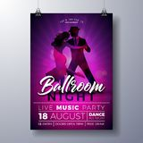 Ballroom Night Party Flyer illustration with couple dancing tango on purple background. Vector design template for. Invitation poster, promotional banner vector illustration
