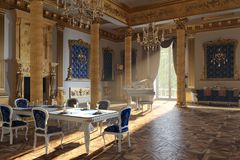 The ballroom and restaurant in classic style. 3D render. The ballroom and restaurant in classic style. Interior in yellow and blue colors. 3D render stock image