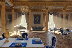 The ballroom and restaurant in classic style. 3D render. The ballroom and restaurant in classic style. Interior in yellow and blue colors. 3D render stock images