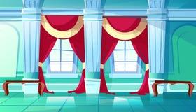 Ballroom or royal palace hall vector illustration. Ballroom of palace hall vector illustration of medieval castle interior of royal dancing room. Flat cartoon royalty free illustration
