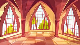 Ballroom or palace windows vector illustration. Ballroom with shaped windows vector illustration of royal gothic palace hall or royal chamber with yellow sun royalty free illustration