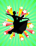 Ballroom stars. An illustration of a ballroom couple bathing in stardom Royalty Free Stock Image