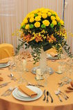 Ballroom table setting for marriage events Stock Photography