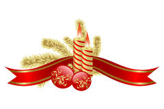 Balls. The burning candles, balls and red ribbons it are Christmas Stock Photo