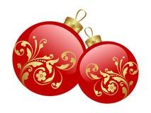 Balls. Two christmas glass balls. Vector illustration Stock Photography